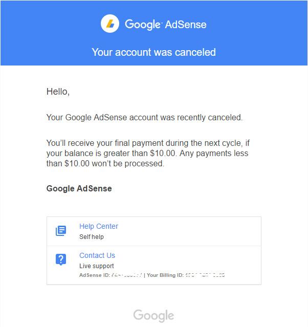 Google AdSense удалил аккаунты неактивных пользователей